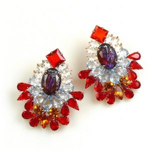 Elegancy Earrings with Clips ~ Red Topaz Clear