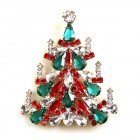 Xmas Tree Brooch #03 ~ Red Emerald Clear