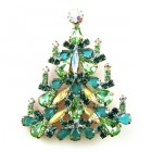 Xmas Tree Brooch #03 ~ Emerald Green AB