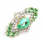 Pompe Ring ~ Crystal with Green Pear
