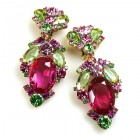 Mythique Clips-on Earrings ~ Fuchsia Green