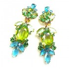 Iris Grande Clips Earrings ~ Silver Lime Aqua
