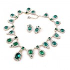Hall Rhinestone Necklace Set ~ Emerald