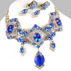 Pompe Choker with Earrings ~ Crystal with Blue