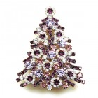 Xmas Tree Brooch #10 ~ Clear Purple