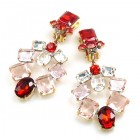 Xia Earrings Clips ~ Red Pink