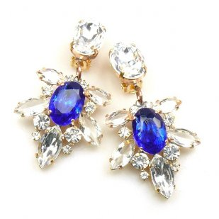 Xantypa Earrings Clips ~ Clear Crystal with Blue