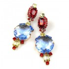 Taj Mahal Earrings Clips ~ Sapphire Blue Multicolor