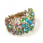 True Love ~ Clamper Bracelet with Flowers ~ Pastel