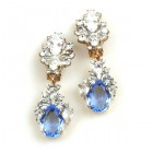 Timeless Clips on Earrings ~ Crystal with Sapphire Blue