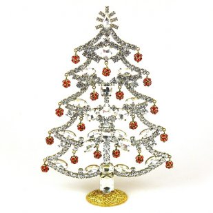 18cm Xmas Tree with Dangling Rondelles ~ Clear Crystal