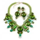 Taj Mahal Necklace Set with Earrings ~ Opaque Green Olive