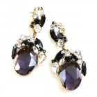 Fiore Pierced Earrings ~ Purple with Black and Clear