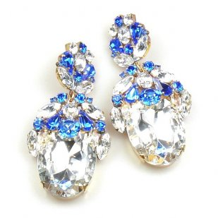 Extra Elipse Earrings Long Pierced ~ Clear Crystal Blue