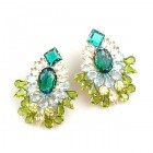 Elegancy Earrings with Clips ~ Emerald Olive Clear