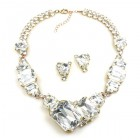 Dice Cube Necklace Set with Earrings ~ Clear Crystal