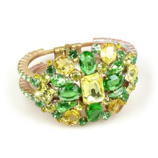 Imagination Clamper Bracelet ~ Yellow Jonquil Green