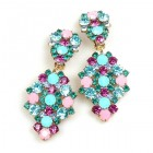 Enigma Earrings with Clips ~ Aqua Fuchsia