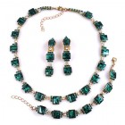 Victoria Set Necklace Earrings and Bracelet ~ Emerald