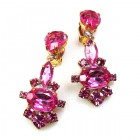 Marlene Earrings Clips ~ Fuchsia