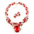 Elipse Necklace Set with Earrings ~ Red