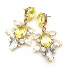 Xantypa Earrings Pierced ~ Clear Crystal with Yellow
