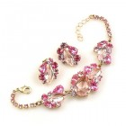 Lite Fountain Bracelet and Earrings ~ Pink