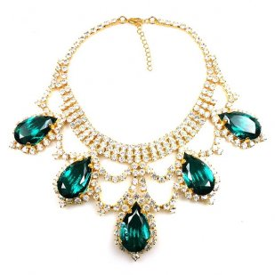 Majesty Necklace ~ Clear Crystal Emerald ~ Gold Plated