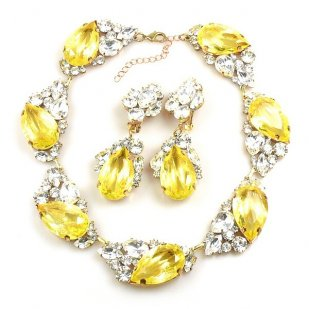 Fountain Necklace Set ~ Clear Crystal with Silver Yellow