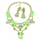 Picasso Jewelry Set with Earrings ~ Peridot Green