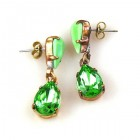 Droplets Earrings for Pierced Ears ~ Green Opaque Mint