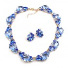 Lite Fountain Necklace with Earrings ~ Sapphire Blue