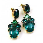 Dramatic Earrings Pierced ~ Emerald