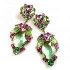 Mythique Extra Earrings for Pierced Ears ~ Green Pink