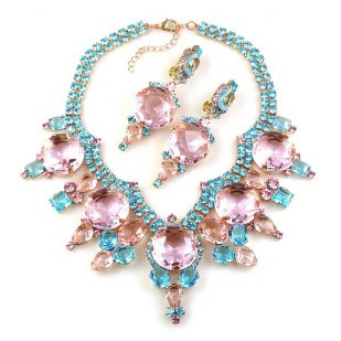 Taj Mahal Necklace Set with Earrings ~ Pink with Aqua