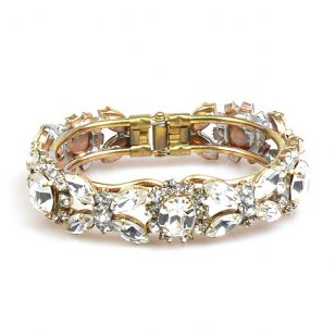 Harmony Clamper Bracelet ~ Clear Crystal