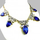 Camilla Necklace ~ Clear Crystal with Silver Blue