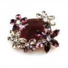 Elipse and Flowers Brooch ~ Purple