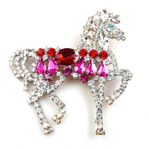 Liberty Horse Brooch ~ White with Red