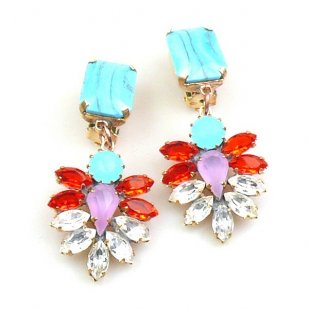Perceive Earrings with Clips ~ Opaque Aqua Red Clear