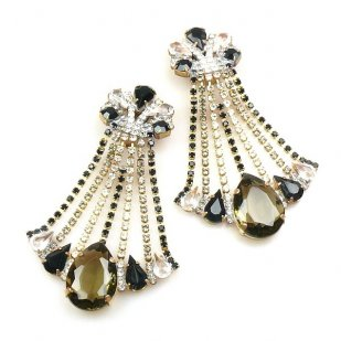 Misty Haze Earrings Clips-on ~ Black Diamond