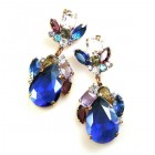 Fountain Earrings for Pierced Ears ~ Colors with Sapphire Blue