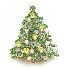 Xmas Tree Brooch #10 ~ Clear Green Yellow