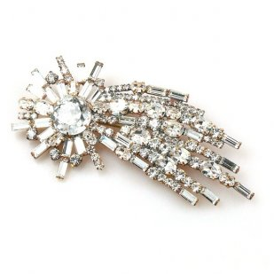Comet Brooch ~ Clear Crystal