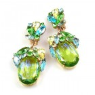 Fiore Clips Earrings ~ Lime Green Ovals Multicolor