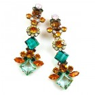 Spice Market Earrings Clips ~ Topaz Green