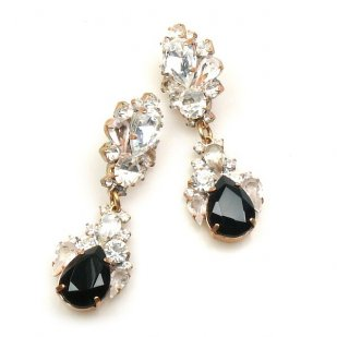 Timeless Pierced Earrings ~ Crystal with Black