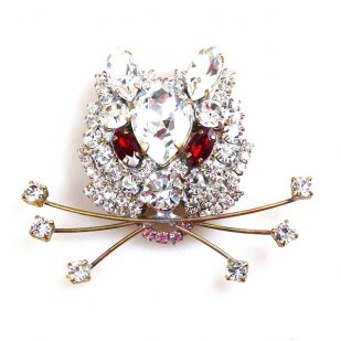 Kitty Brooch ~ Clear Crystal with Red Eyes