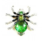 Little Spider Pin ~ Green and Clear Crystal