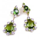 Heritage of History Earrings Pierced ~ Olive Green Violet